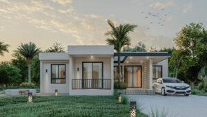 Modern house plan, half floor